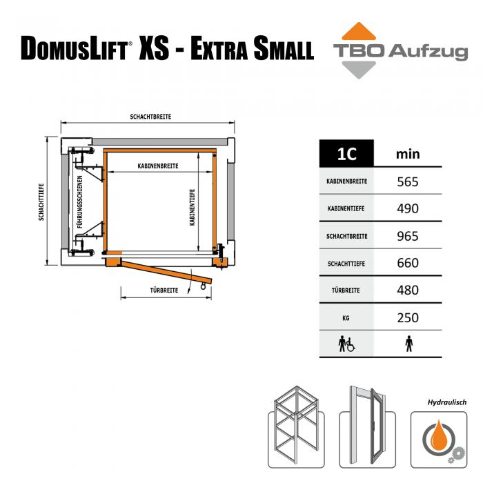 TBO Aufzug-DomusLift XS-Zeichnung Stahlschacht