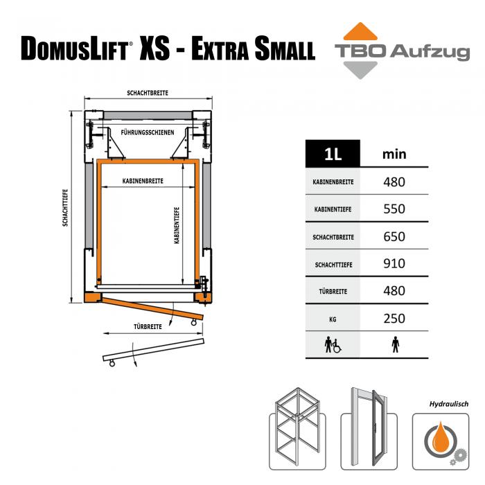 TBO Aufzug-DomusLift XS-Zeichnung Stahlschacht1