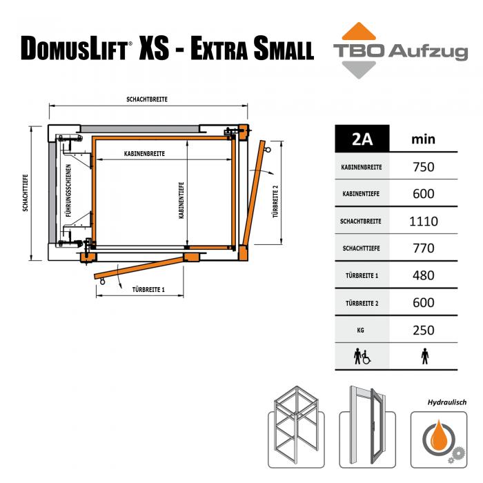 TBO Aufzug-DomusLift XS-Zeichnung Stahlschacht2