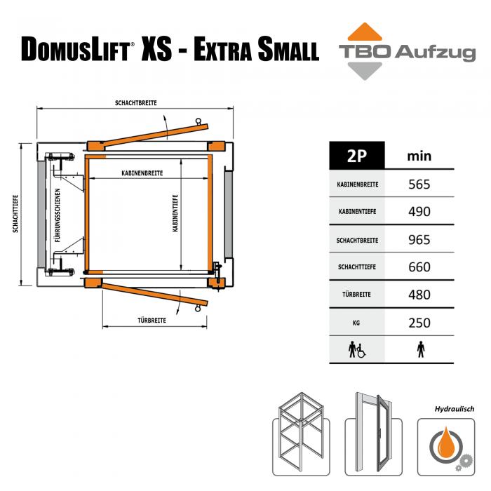 TBO Aufzug-DomusLift XS-Zeichnung Stahlschacht3