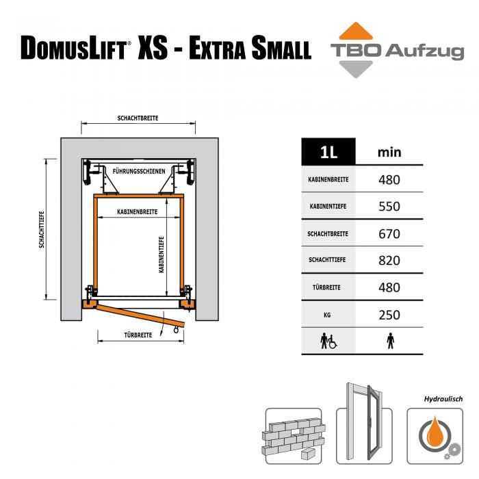 TBO Aufzug-DomusLift XS-Zeichnung gemauerter Schacht1