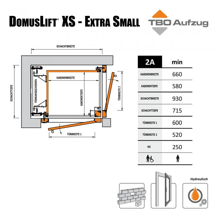 TBO Aufzug-DomusLift XS-Zeichnung gemauerter Schacht2