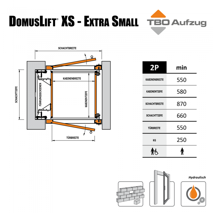 TBO Aufzug-DomusLift XS-Zeichnung gemauerter Schacht3